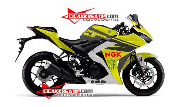 Modif Yamaha R25 Warna Kuning Kombinasi Hitam Lumayan D