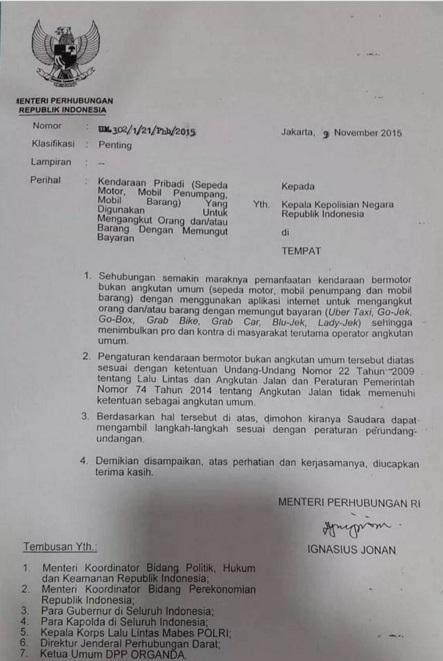 surat larangan gojek oleh pemerintah